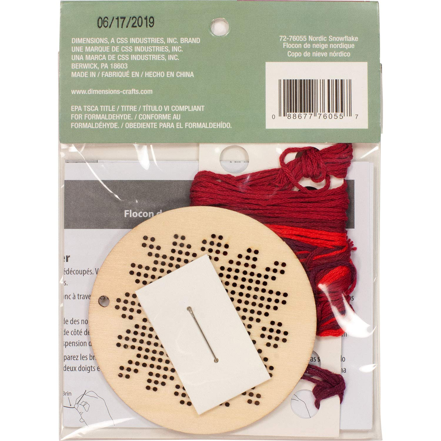 1 Pc Nordic Snowflake Wooden Christmas Ornament Craft Kit Dimensions 72-76055 Counted Cross Stitch