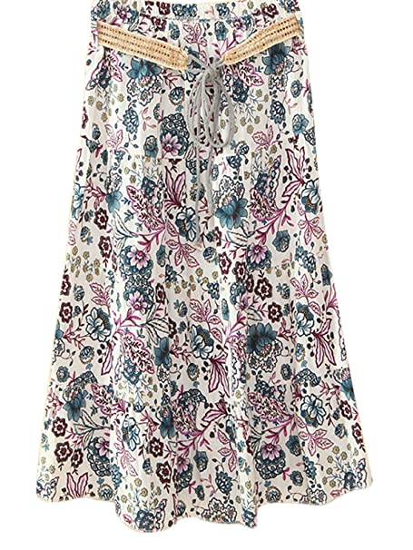 95f841a2e2 Azue Women's Retro Tiered Floral Flared Linen Long Beach Skirts Casual Half  Dress Camellia