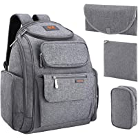 Lootus Diaper Bag Backpack with Stroller Straps and 2 Sundry Bag (Gray)