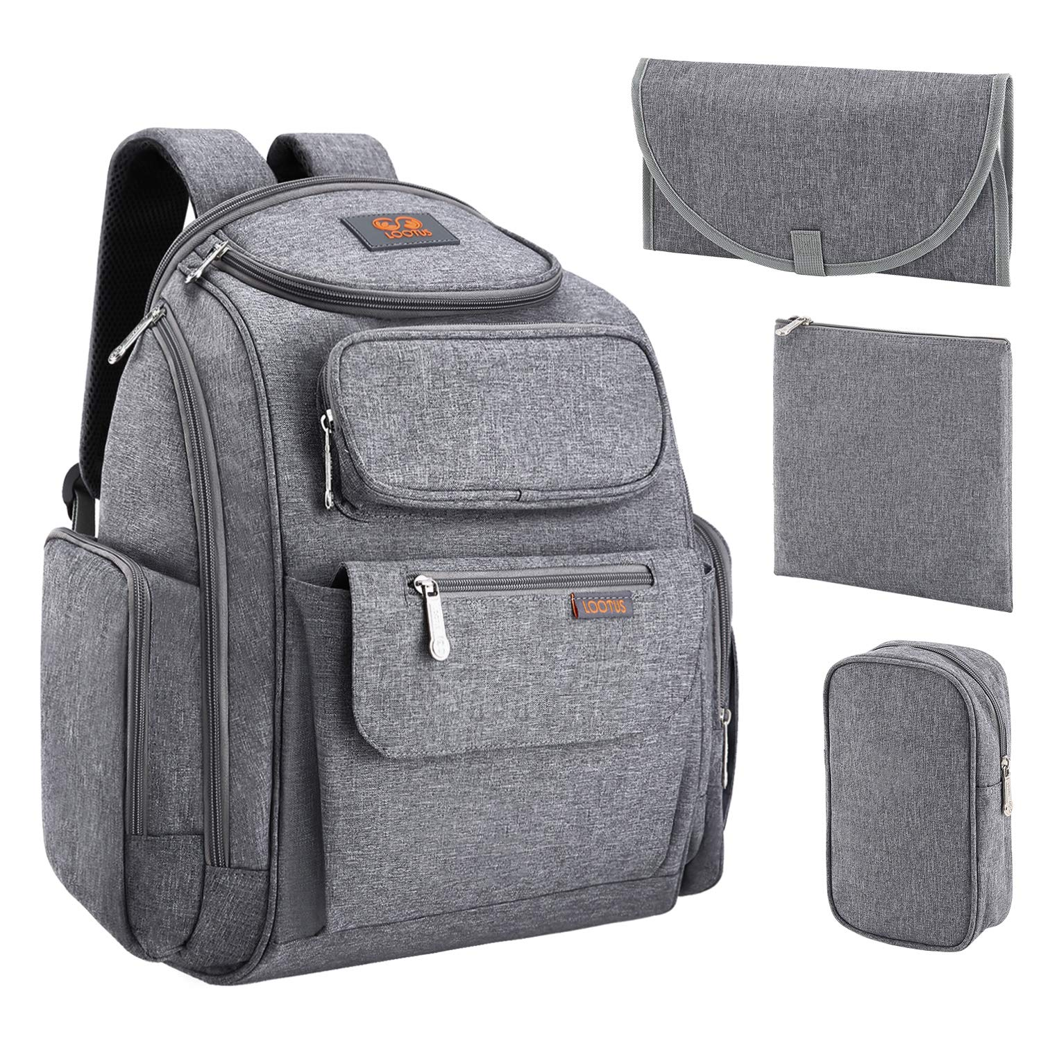 cd12c24bb52c Amazon.com   LOOTUS Diaper Bag Backpack Large Multifunction with Stroller  Straps