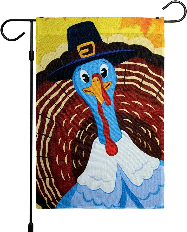 G128 - Home Decorative Thanksgiving Garden Flag, Joyful Pilgrim Turkey Decoration, Rustic Holiday Seasonal Outdoor Flag 12