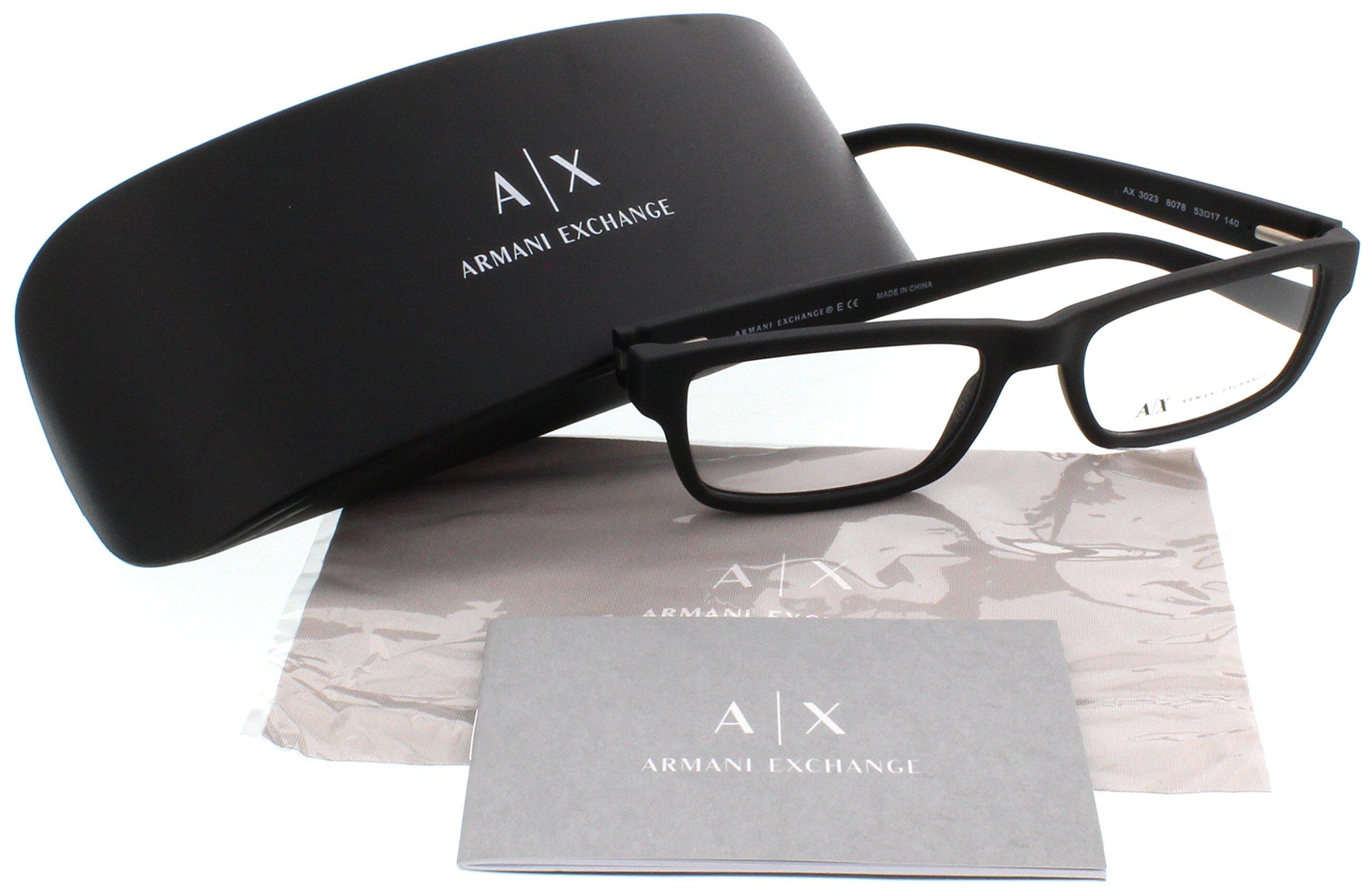 Armani Exchange AX3023 Eyeglass Frames 8078-53 - Matte Black AX3023-8078-53