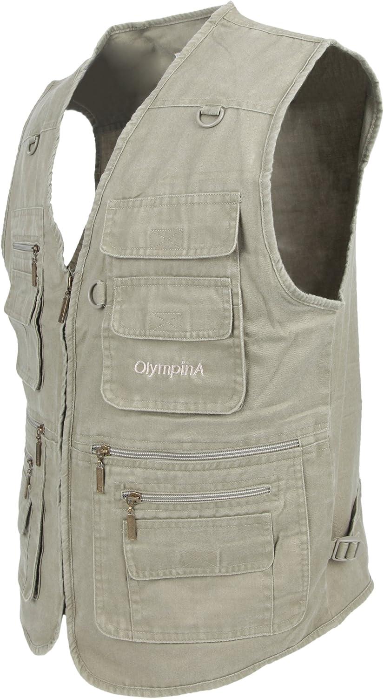 LUSI MADAM Mens Stone Washed Denim Multi-pocketed Fishing Work Outerwear Vest