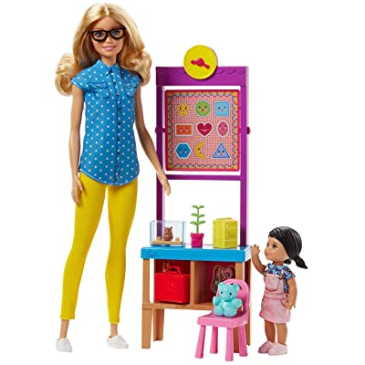 Barbie Teacher Doll with Flipping Blackboard Playset and School-Themed Toys: Toys & Games