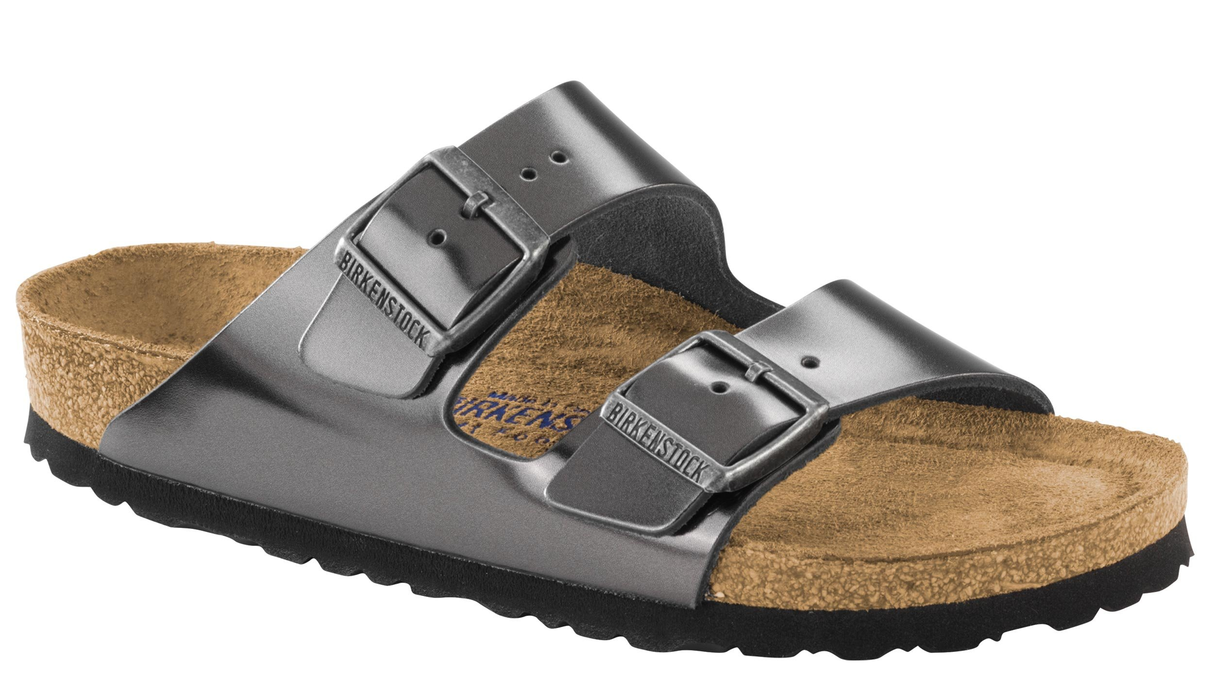 Birkenstock Unisex Arizona Metallic Anthracite Leather Sandals - 7-7.5 2A(N) US Women