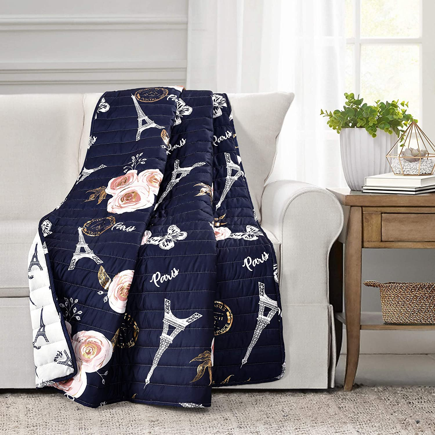 """Lush Decor Reversible Throw Blanket, Navy Vintage Print with Paris-Themed Design, Soft Polyester Fabric, Cozy Couch and Bed Accent (50"""" x 60"""