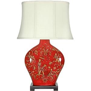 """Oriental Furniture 27"""" Fruitful Harvest Porcelain Lamp"""