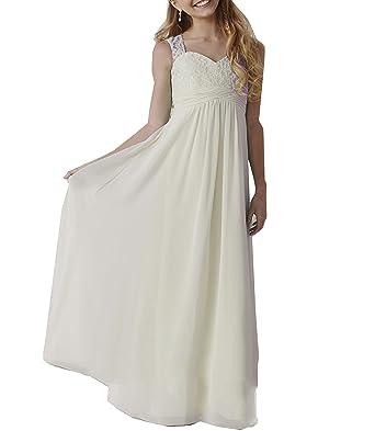 Amazon.com: WuliDress Cheap Sweetheart Lace Bridesmaid Dresses for Juniors Chiffon Flower Girl Dress: Clothing
