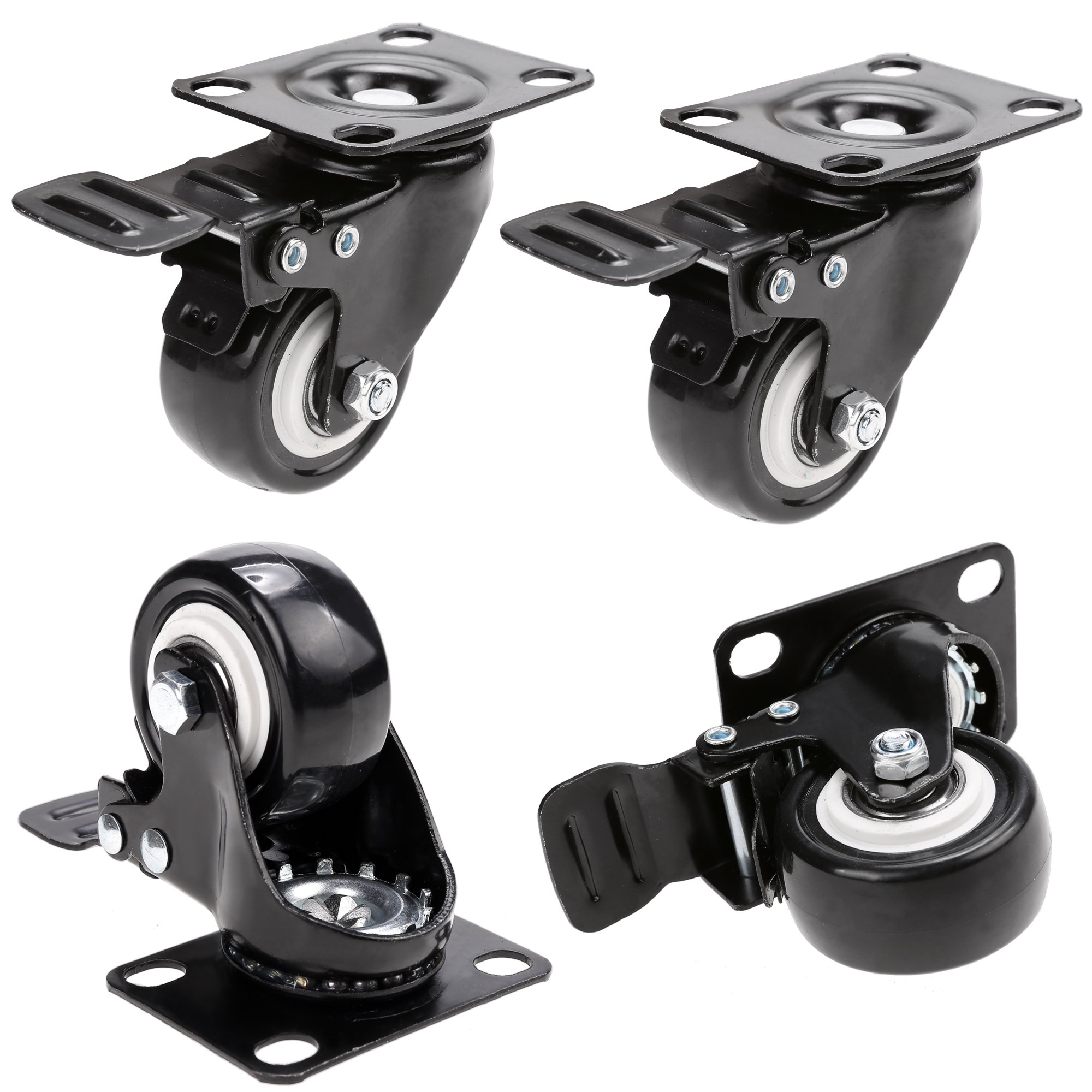 2'' Coocheer Swivel Caster Wheels Rubber Base with Top Plate & Bearing Heavy Duty Pack of 4 (new)