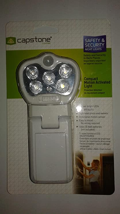 5 Light Compact Motion Activated Light (White) Batteries Not Included