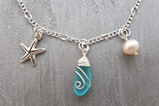 product image for Handmade in Hawaii, ankle bracelet with blue sea glass, starfish charm, freshwater pearl, Hawaiian Gift, (Hawaii Gift Wrapped, Customizable Gift Message)