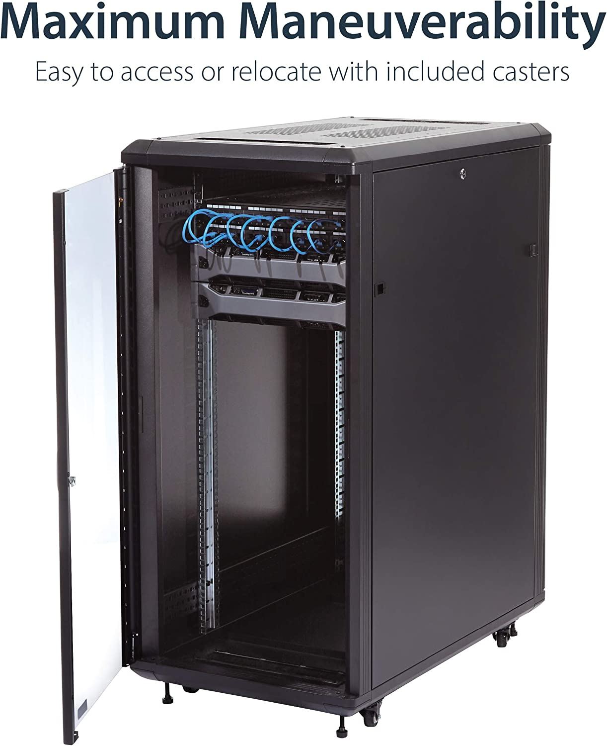 RK960CP Deep Portable Cabinet TAA Compliant StarTech.com 9U Open Frame Rack with Handles 4 Post 23 in 220 lbs capacity