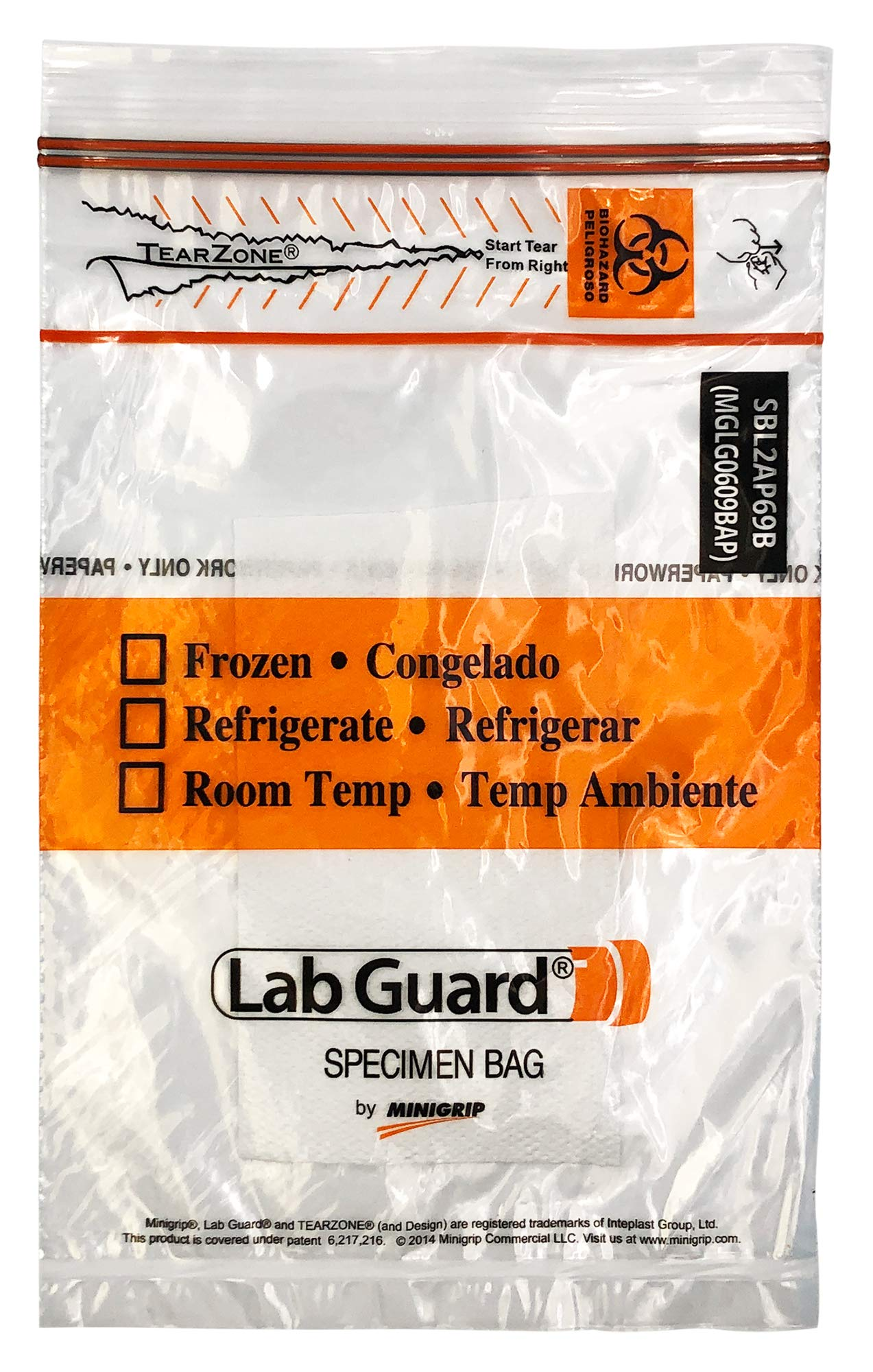 Lab Guard SBL2AP69B Polyethylene (LDPE/LLDPE Blend) Specimen Bag with TearZone and Absorbent Pad, Destroyable Biohazard Symbol  50 bags (Pack of 20) by Minigrip Lab Guard