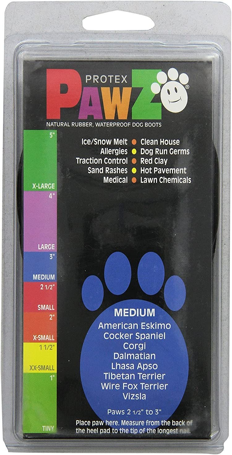 2 Pack Pawz Black Medium Water-Proof Dog Boots