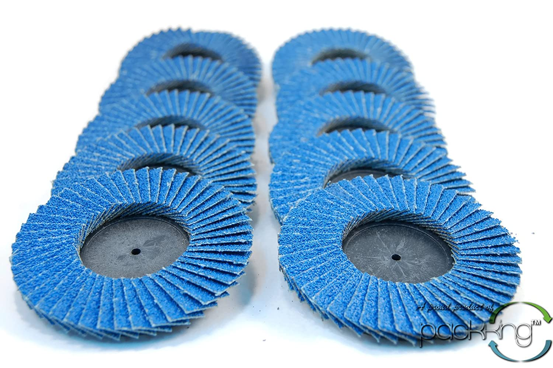 60 Grit 10pc Rogue River Tools 3 Quick-Change Flap Disc Wheels Type R