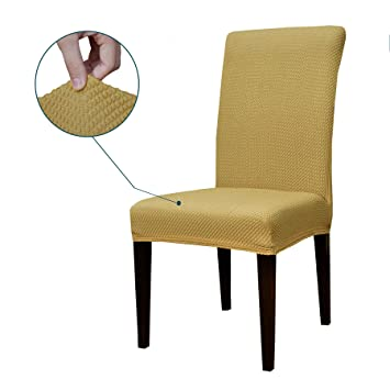 Subrtex Jacquard Stretch Dining Room Chair Slipcovers 4 Beige