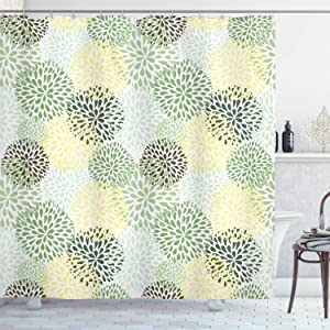 Ambesonne Floral Shower Curtain, Modern Floral Ornate Petals Flourish Traditional Springtime Garden Leaves, Cloth Fabric Bathroom Decor Set with Hooks, 75