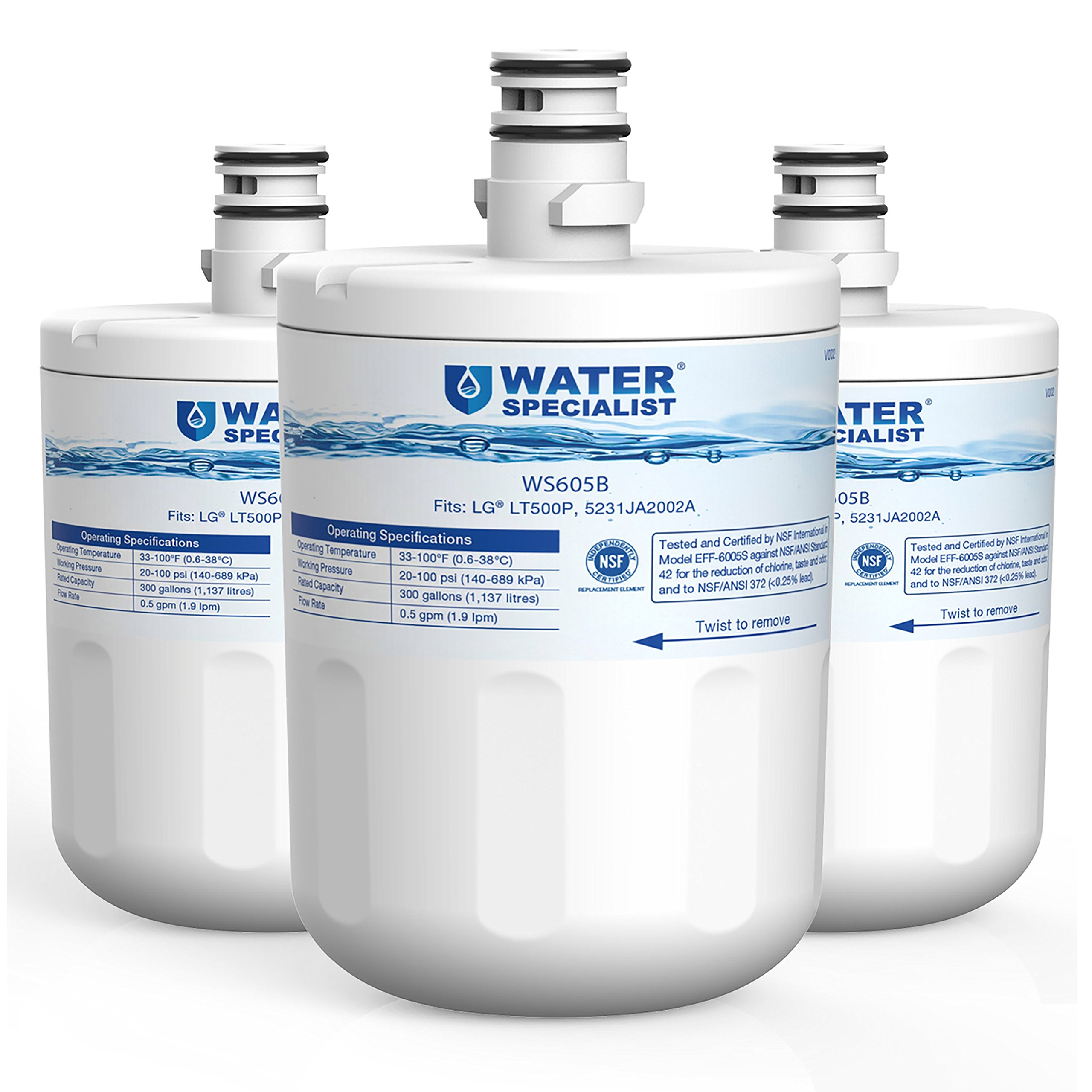 Waterspecialist LT500P Replacement Refrigerator Water Filter, Compatible with LG LT500P, 5231JA2002A, GEN11042FR-08, LFX25974ST, ADQ72910901, ADQ72910907, Kenmore 9890, 46-9890, 469890, 3 Pack