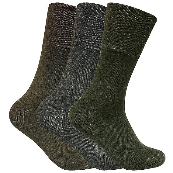 3 pares hombre invierno sin elasticos calcetines diabeticos para circulacion en 2 colores (39-