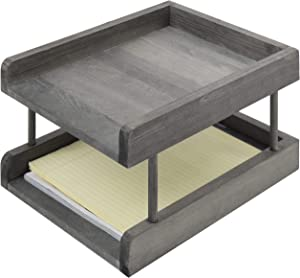 MyGift 2-Tier Rustic Grey Wood Paper File Organizer in and Out Tray/Office Desktop Document Holder