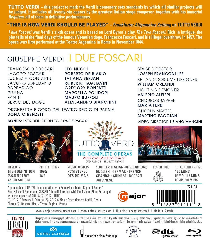 Amazon.com: I Due Foscari [Blu-ray]: Verdi, Renzetti, Nucci, De Biasio, Serjan: Movies & TV