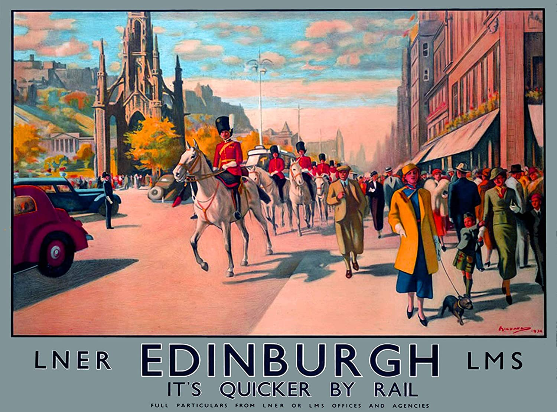 Ediburgh Scotland vintage train travel promotion poster repro 18x24
