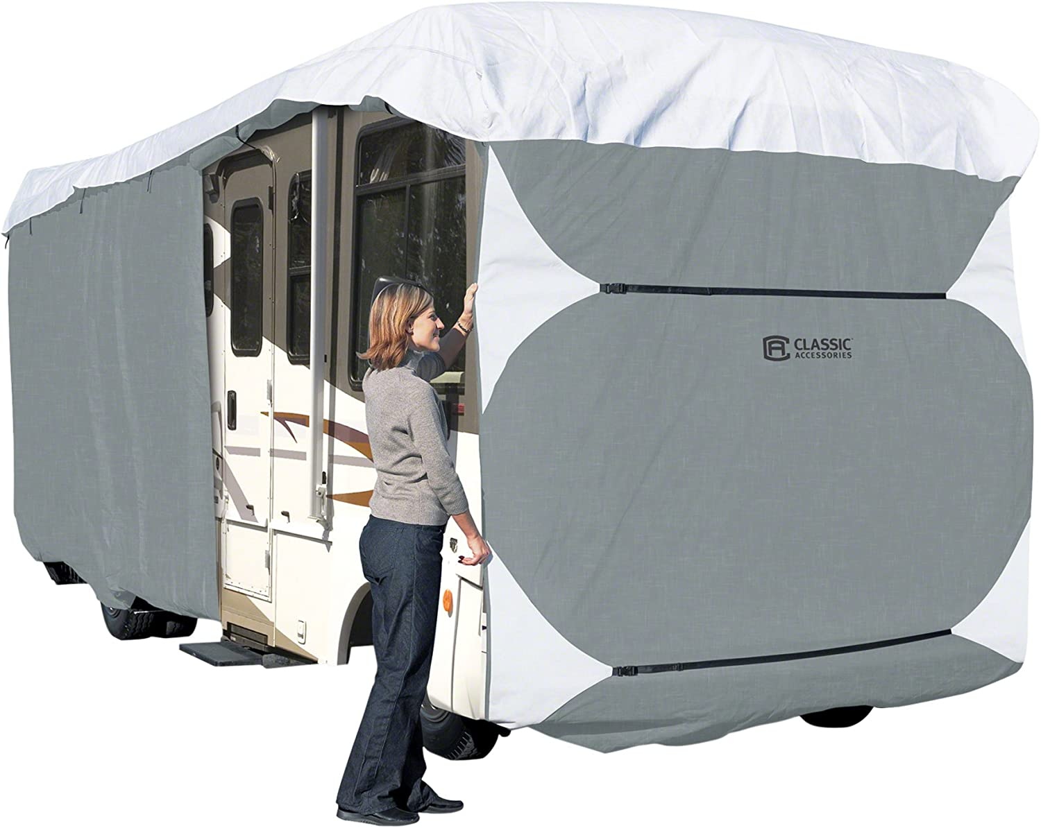Classic Accessories OverDrive PolyPro 3 Deluxe Class A Extra Tall RV Cover, Fits 37' - 40' RVs
