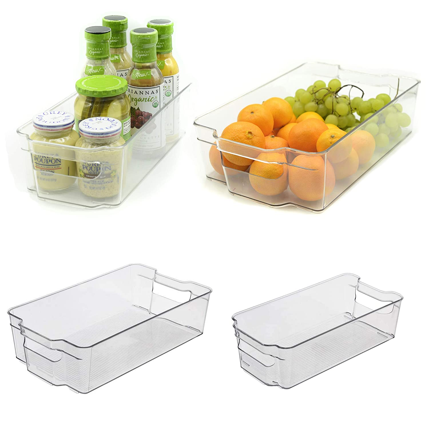 Organizer Bins, Stackable, Set of 4, Clear Storage Containers for Organizing - Pantry Organizer, Fridge Organizer Bins, Refrigerator Organizer Bins, Freezer Organizer, Dresser Drawer Organizers