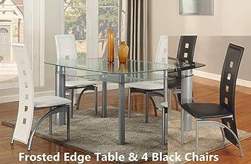 Amazoncom GTU Furniture Pc Glass Dining Room Table Set Table - Smoked glass dining table and chairs