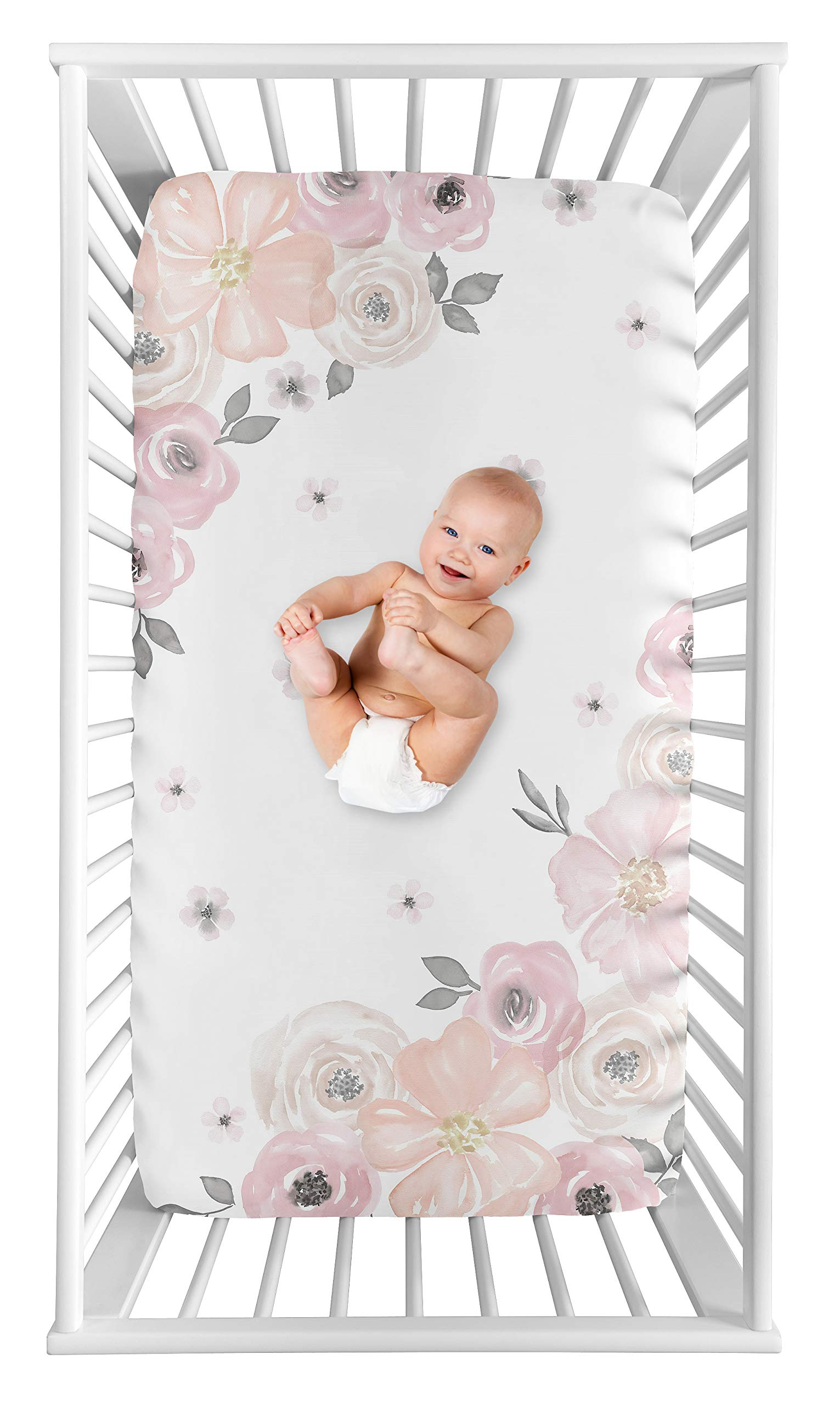 Sweet Jojo Designs Blush Pink, Grey and White Photo Op Baby or Toddler Fitted Crib Sheet for Watercolor Floral Collection by Sweet Jojo Designs