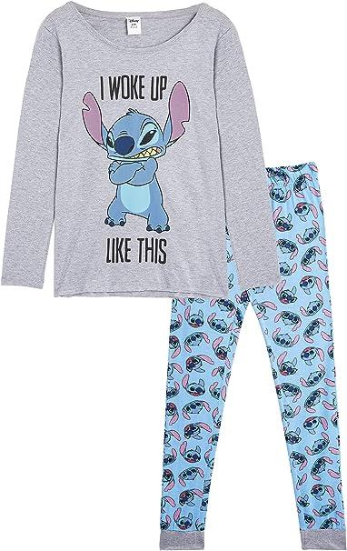 Disney Lilo y Stitch Pijama Mujer Invierno, Pijamas De 2 Piezas ...