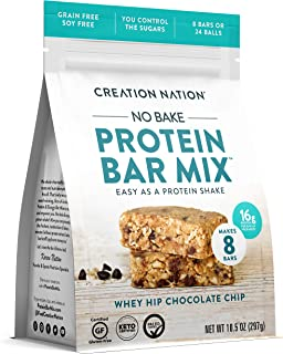 product image for KETO PROTEIN BAR MIX, No-bake & easy as a protein shake! Makes 24 PROTEIN BALLS / 8 BARS. Perfect Snack for Keto, Paleo Friendly, Gluten & Grain Free, Kids & Adults. (Whey Hip Chocolate Chip Cookie)