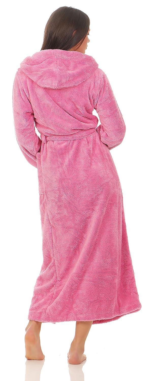 extra lang Gr/össe S Damen Kuschel-Bademantel mit Kapuze Wellsoft Farbe pink