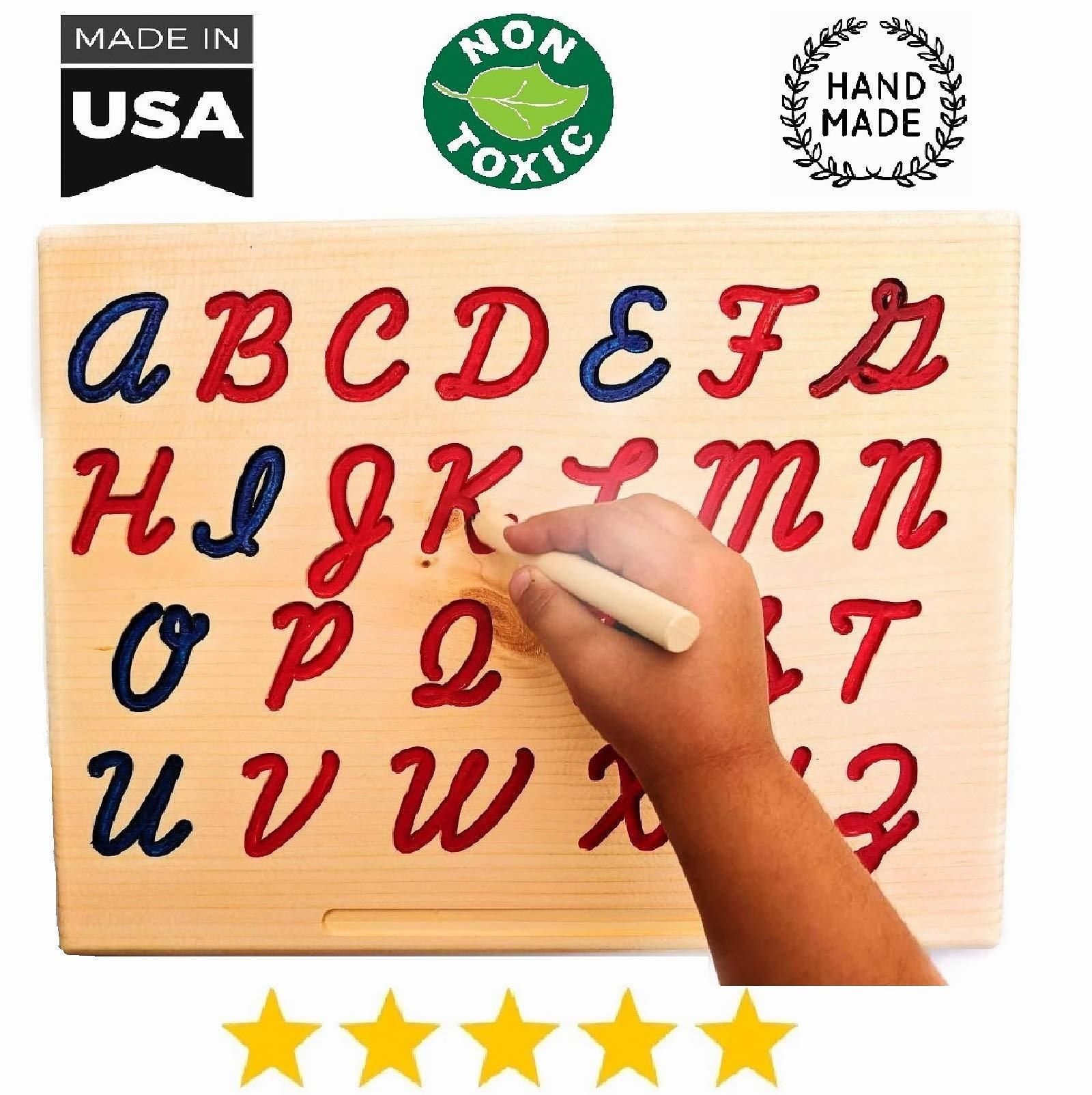 Montessori Uppercase / Lowercase Cursive Alphabet | Cursive ABC Letters Tracing Board with Wooden Pen by Cosmo-Crafts (A- Uppercase NO Color) by cosmo-crafts.com