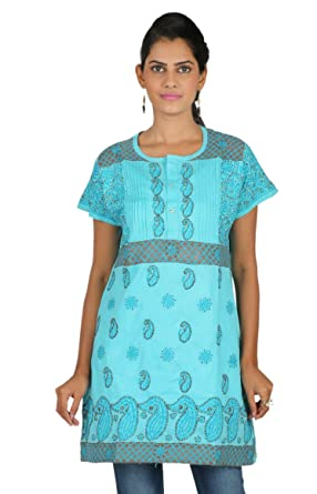 643ed3bcef1 Image Unavailable. Image not available for. Color: Ladies Tops Tunic Kurti  Blouse Indian Chikankari Hand Embroidery Cotton Womens Tunic
