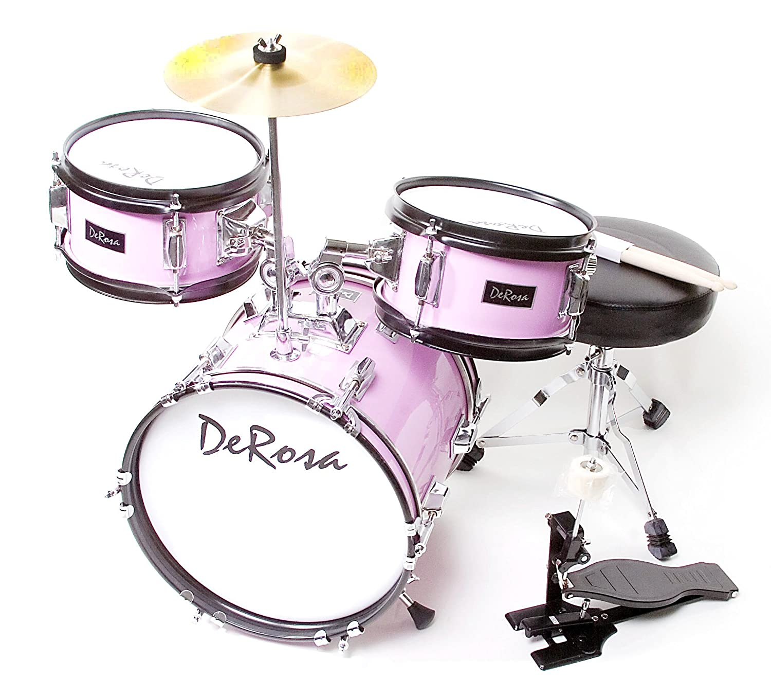 De Rosa DRM312-MPK Children's 3-Piece 12-Inch Drum Set with Chair, Pink BRI-DRM312-PK