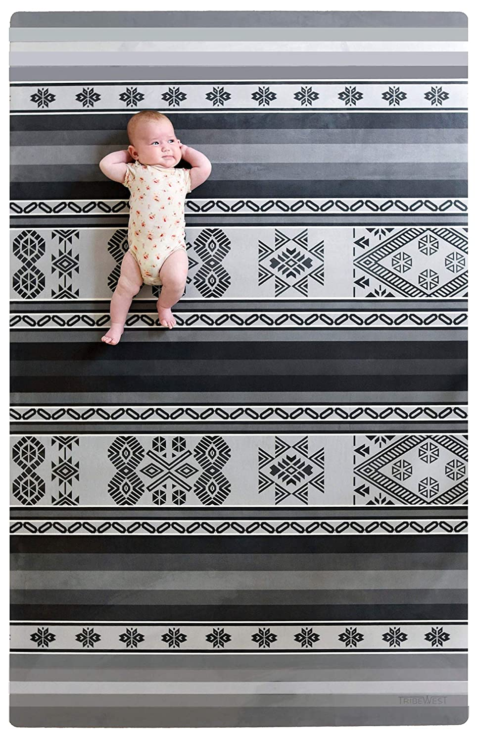 Stylish Playmat Soft Microfiber and Eco-Friendly Mali Grey Natural Rubber Tribe West Large