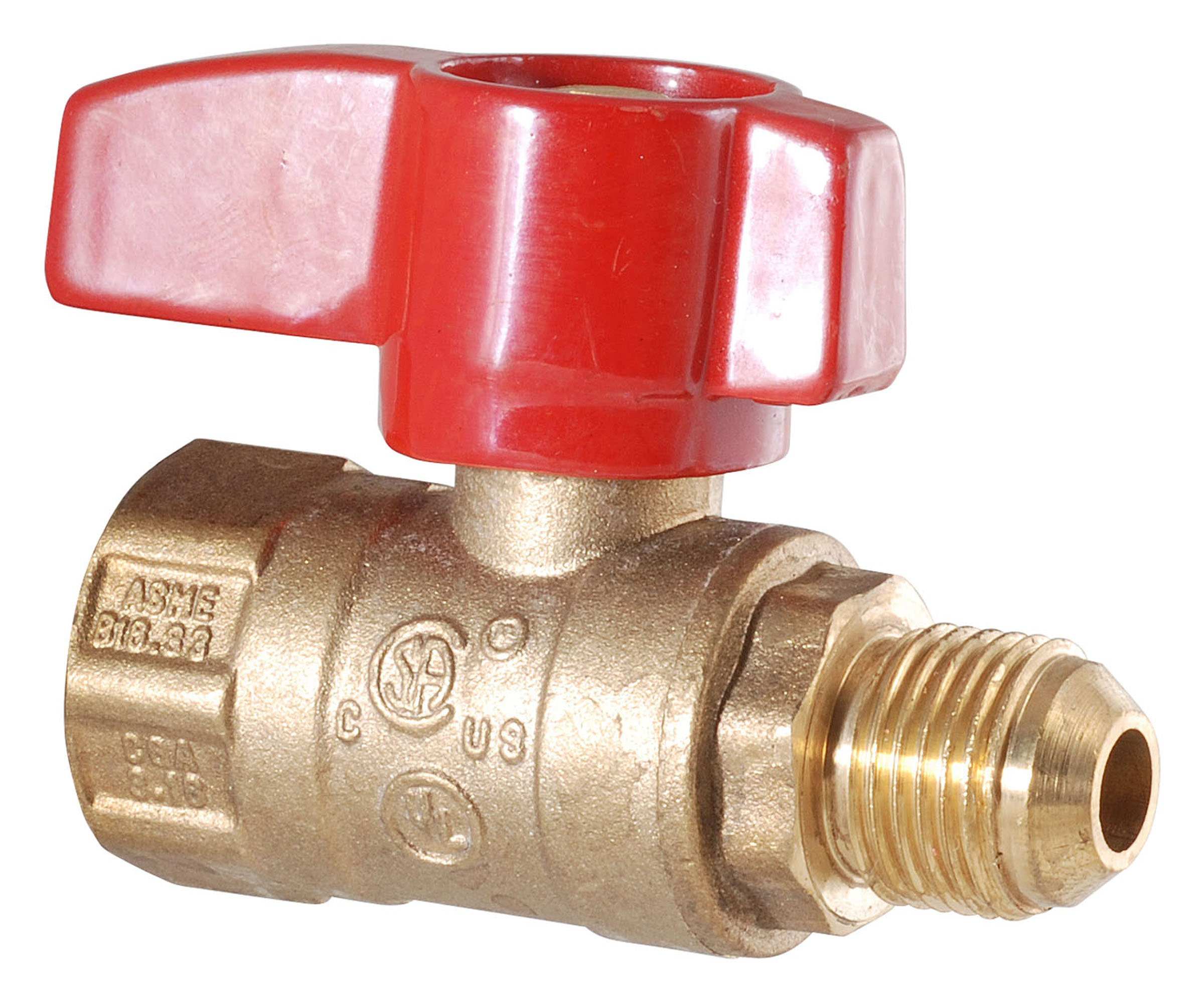 LDR 020 1540 1/2-Inch FIP x 3/8-Inch Flare Male Heavy Duty Gas Ball Valve, Brass