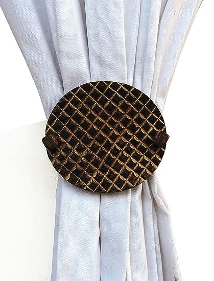 H & W Decorative Handmade Wooden Round Ellis Curtain Tieback (Pack of 1,Brown, 10x10 Cms)