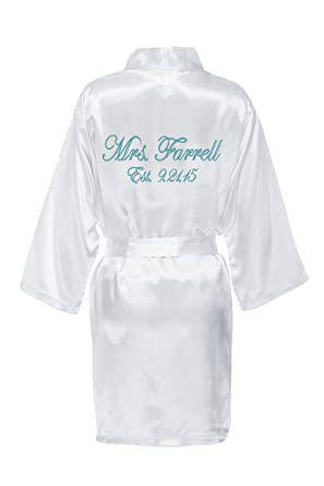 140668cd9d Personalized Mrs. Satin Bridal Robe - White at Amazon Women s ...