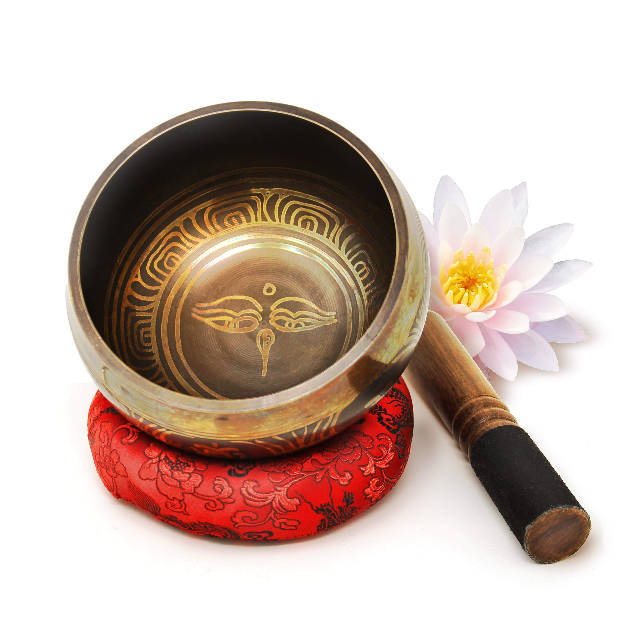 Large 5 inches Tibetan Singing Bowl Set with Deep Resonating and Relaxing Sound ~Great For Mindfulness Meditation, Relaxation, Stress & Anxiety Relief, Chakra, Yoga and Zen~ With Gift Box (Black) by Juccini
