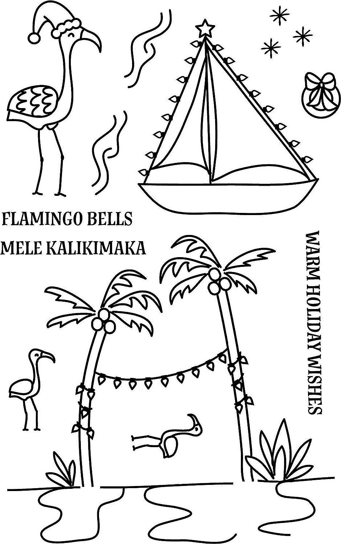 Avery Elle ST-17-28 Clear Stamp Set 4X6-Flamingo Bells