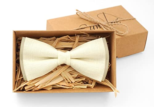 Pre Tied Bow Tie with Adjustable Neck Strap Kids, Tan Champagne