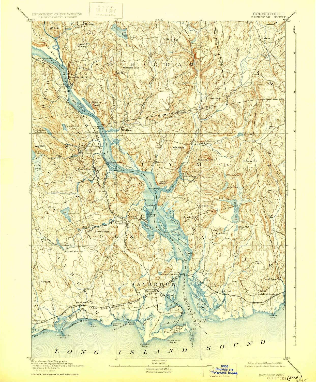 Amazon.com : YellowMaps Saybrook CT topo map, 1:62500 Scale, 15 X 15 on