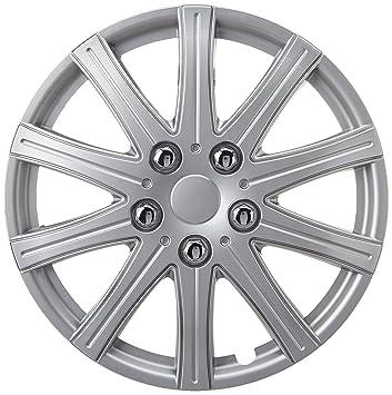 XtremeAuto - Tapacubos (14 pulgadas, incluye tapones de válvula cromados y sujetacables plateado), color plateado: Amazon.es: Coche y moto