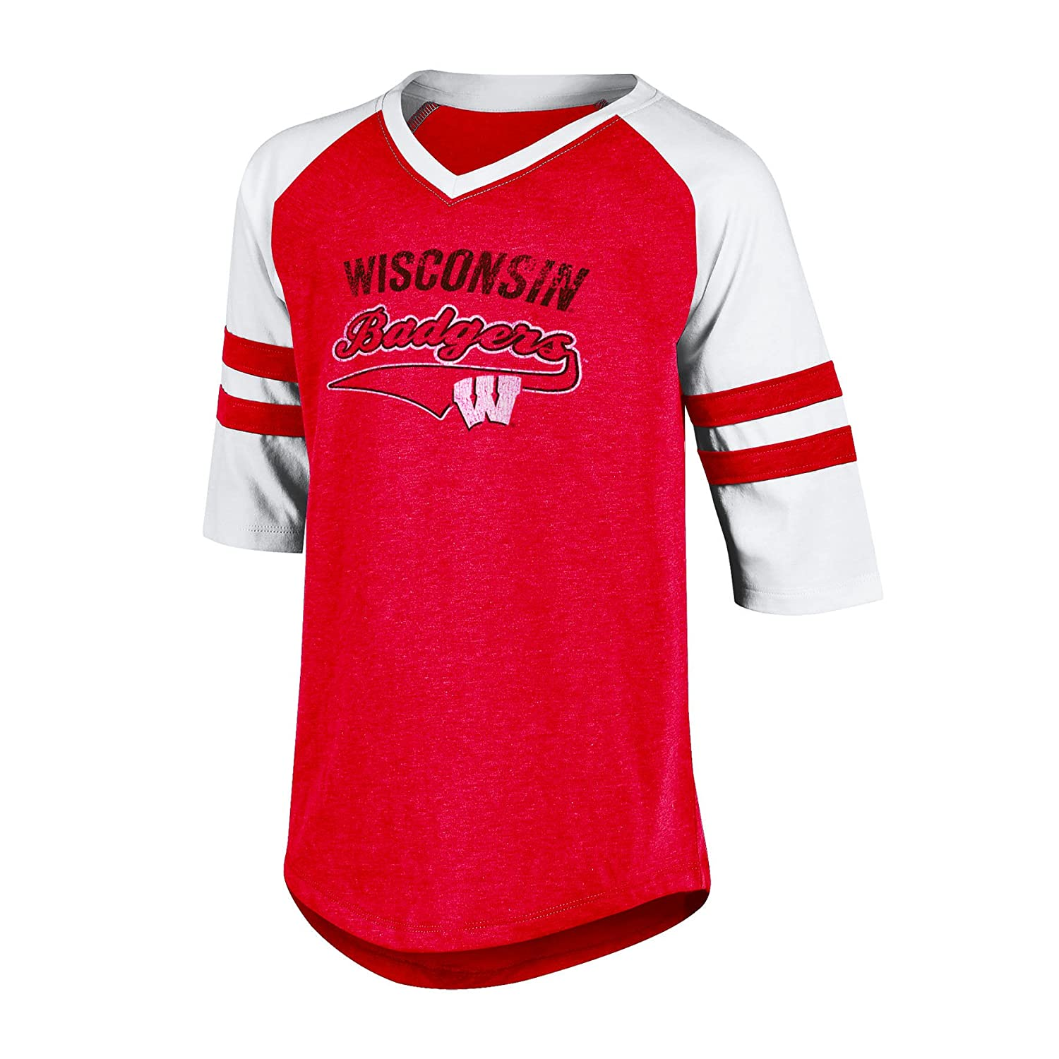 Medium Champion NCAA Wisconsin Badgers Girls 3//4 Raglan Sleeve V-Neck Tunic Tee with Sleeve Taping Red Heather
