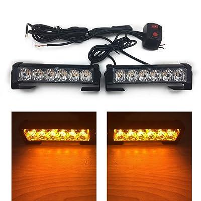 TASWK 6 LED Daytime Running Lights Warning Strobe Lights for Trucks Cars Waterproof Emergency Light Amber: Automotive