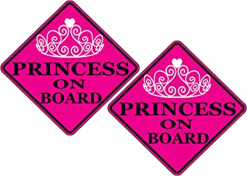 Rogue River Tactical Pink Princess On Board Sticker Car Window Decal Bumper for Girl Daughter Vehicle Safety Sticker Sign for Car Truck SUV 4