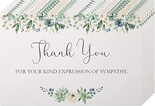 Amazon Com Funeral Thank You Cards With Envelopes 50 Pack Sympathy Thank You Cards Blank On The Inside Acknowledgement Cards For Family Friends Loved Ones Office Products