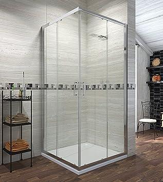 Cabina de ducha esquina. 80 * 80 cm Mampara de cristal para puerta de ducha con puerta corredera, altura 190 cm, cristal transparente: Amazon.es: Bricolaje y herramientas